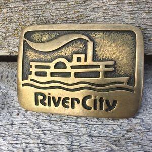 Vintage 70s-80s River City Brass Belt Buckle